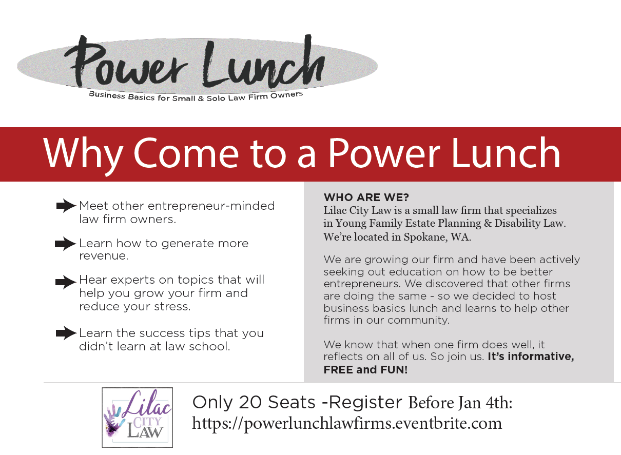 PowerLunch for Small Law Firms - Why You Should Come - Lilac City Law